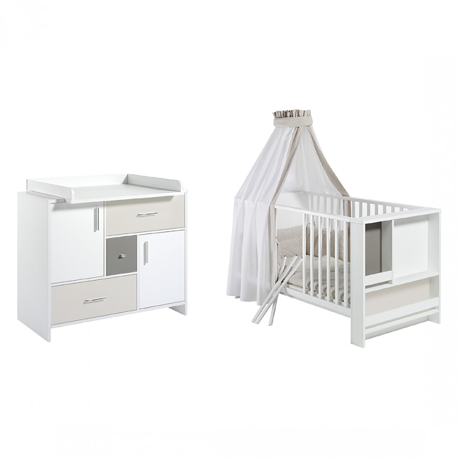 babyzimmer set candy wei beige grau home24. Black Bedroom Furniture Sets. Home Design Ideas