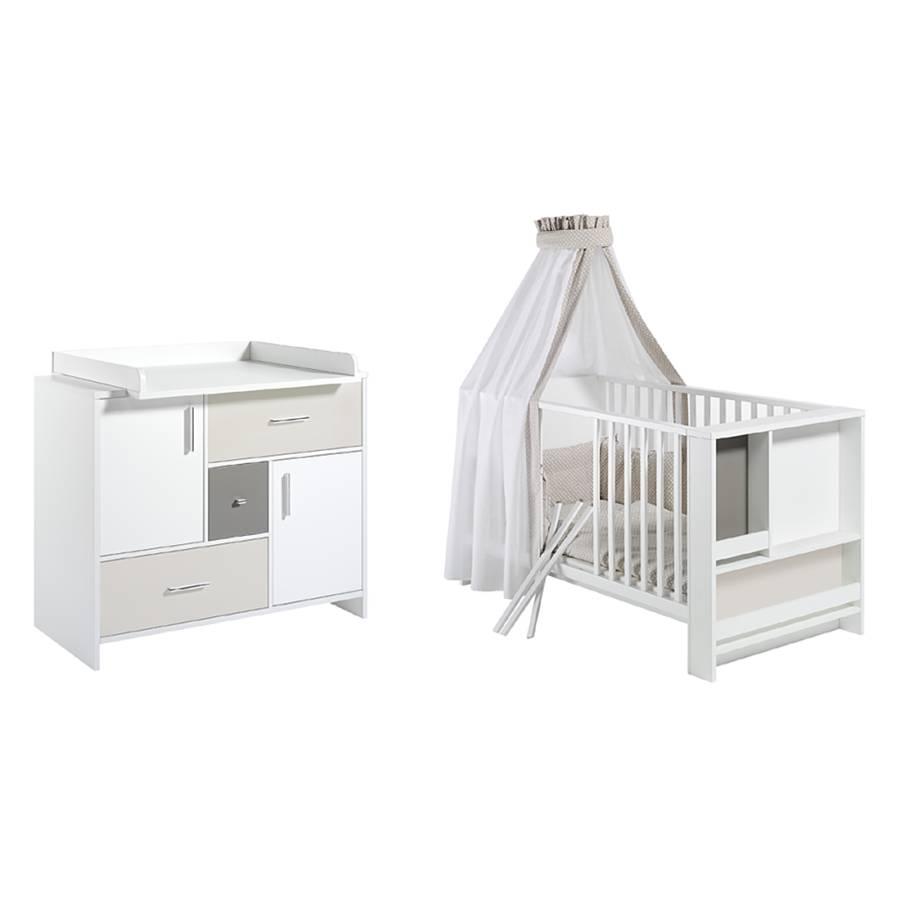 babyzimmer set candy wei beige grau home24. Black Bedroom Furniture Sets. Home Design Ideas