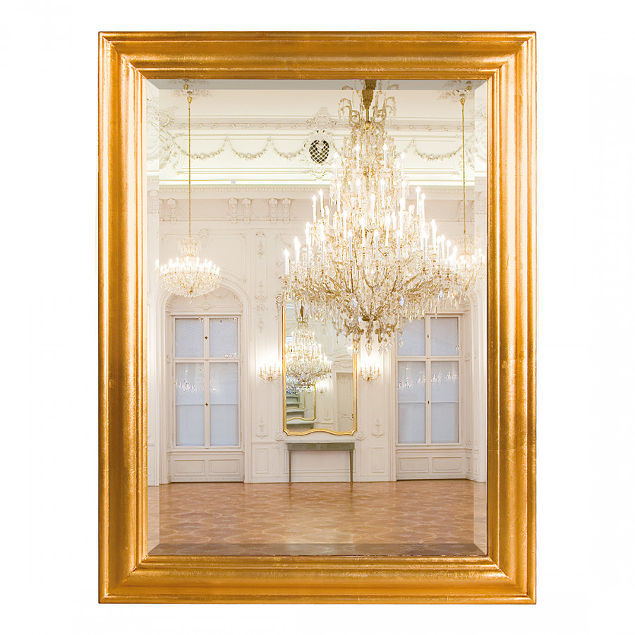 Specchio Da Terra Loira Parzialmente In Legno Massello