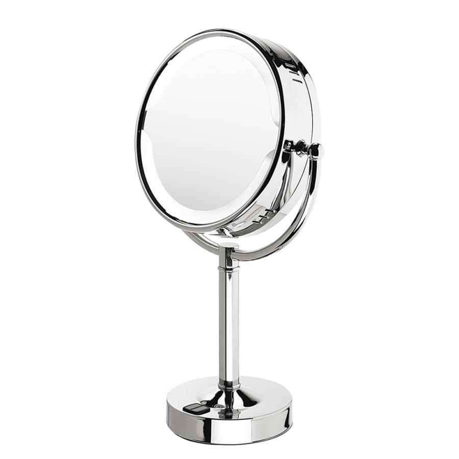 Miroir sur pied tanja chrome avec clairage et avec for Miroir avec pied