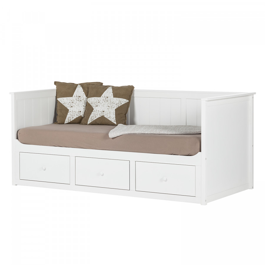 lit multi rangements sana pin blanc. Black Bedroom Furniture Sets. Home Design Ideas
