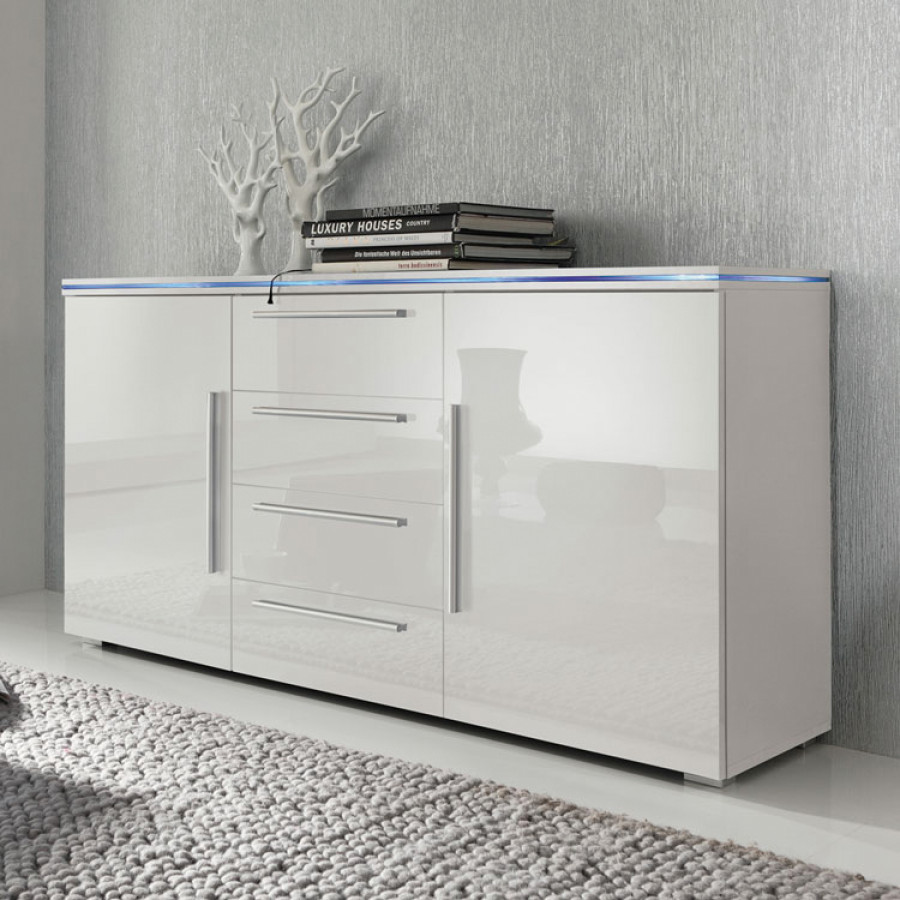 sideboard hochglanz mit glas ihr traumhaus ideen. Black Bedroom Furniture Sets. Home Design Ideas
