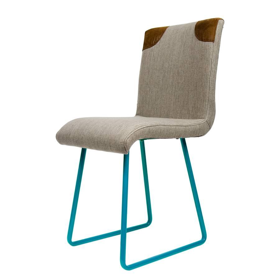 Stuhl glenalta stahl webstoff t rkis grau - Stuhl tom grau ...