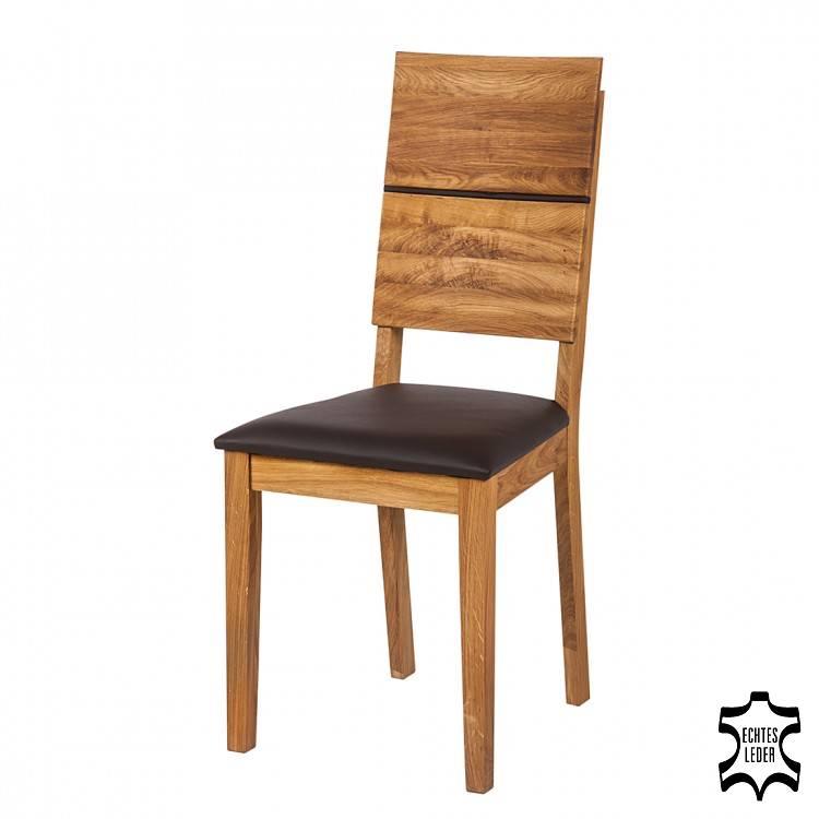 Chaise helga lot de 2 ch ne sauvage massif rev tement en cuir v ritable - Chaise en cuir veritable ...