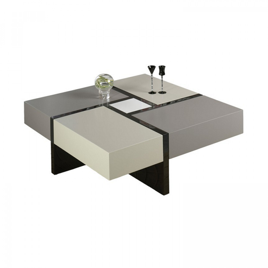 Table basse laquee grise maison design for Table basse carree