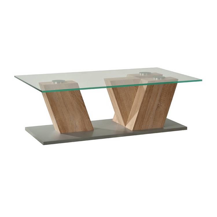 Table basse plateau verre h tre clair luson Plateau verre table basse