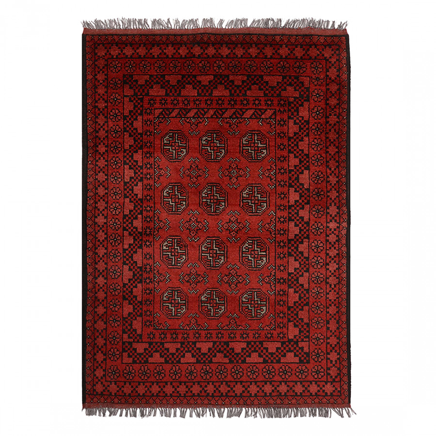 tapis afghan bouchara rouge pure laine vierge. Black Bedroom Furniture Sets. Home Design Ideas