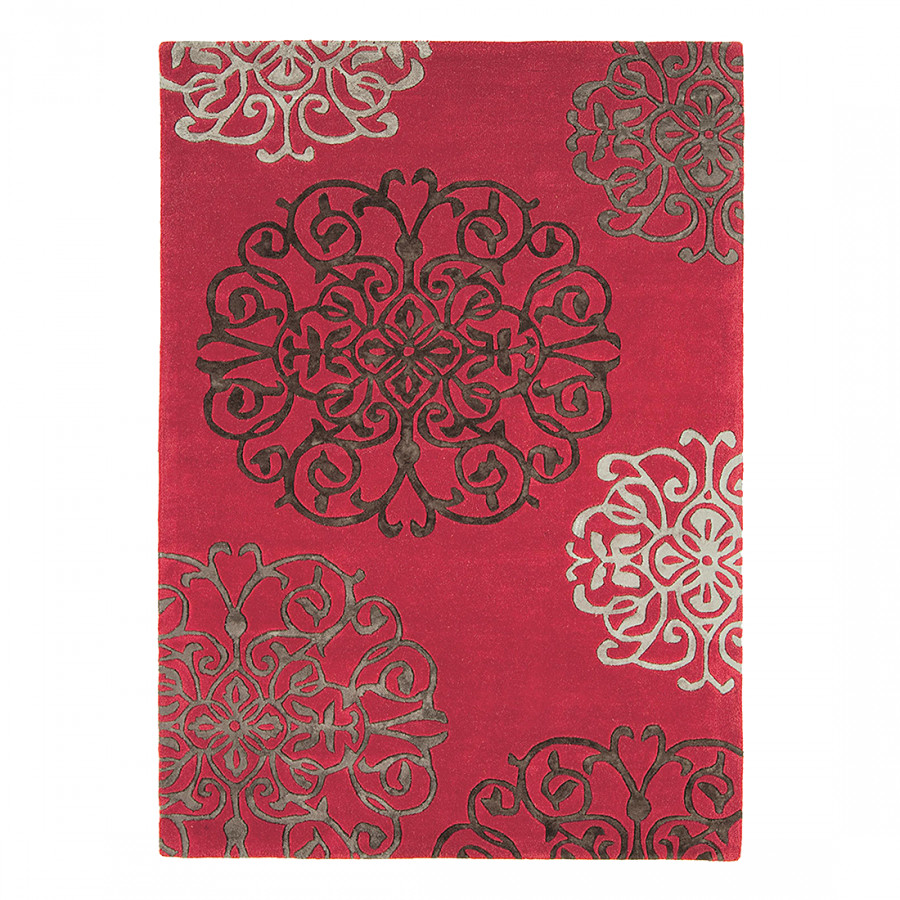 Tapis de salon moderne metrix arabesque rose Tapis de salon moderne