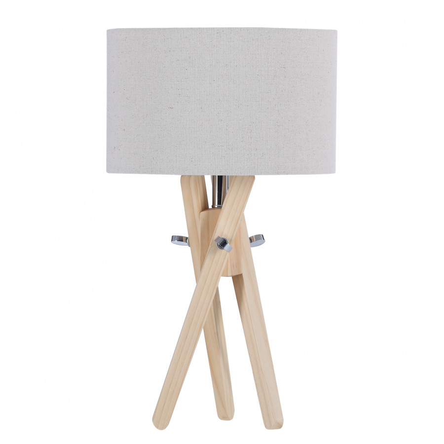 Lampe de table mikko bois massif tissu - Lampe de table bois ...
