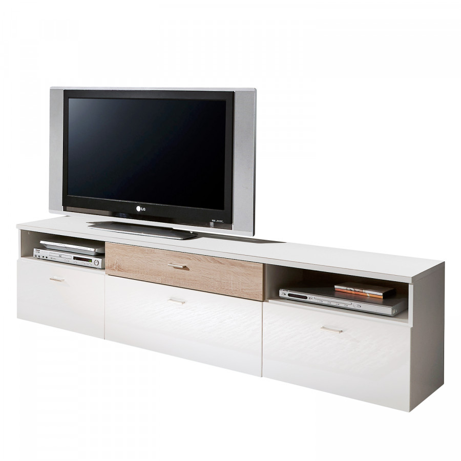 tv lowboard amele hochglanz wei eiche sonoma dekor. Black Bedroom Furniture Sets. Home Design Ideas