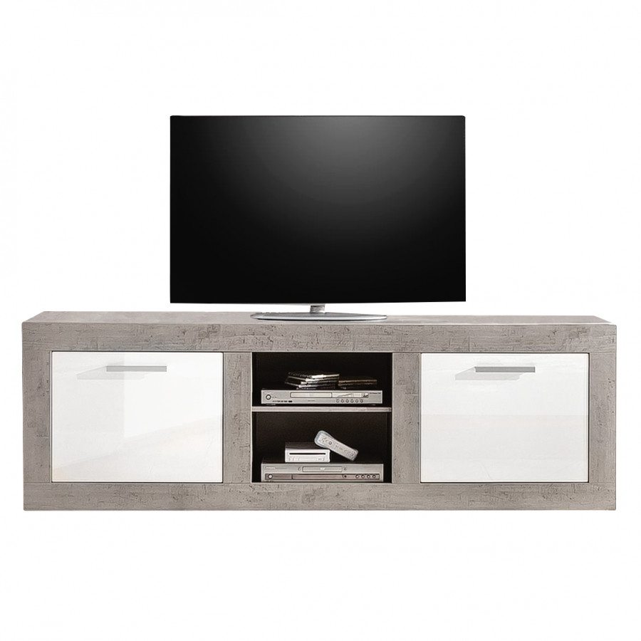 tv lowboard grevenkop hochglanz wei beton. Black Bedroom Furniture Sets. Home Design Ideas
