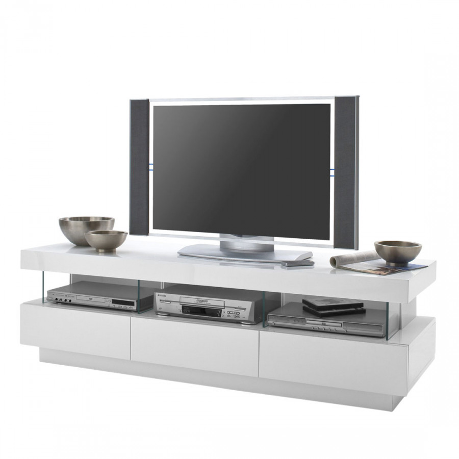 meuble tv laura clairage inclus blanc brillant. Black Bedroom Furniture Sets. Home Design Ideas