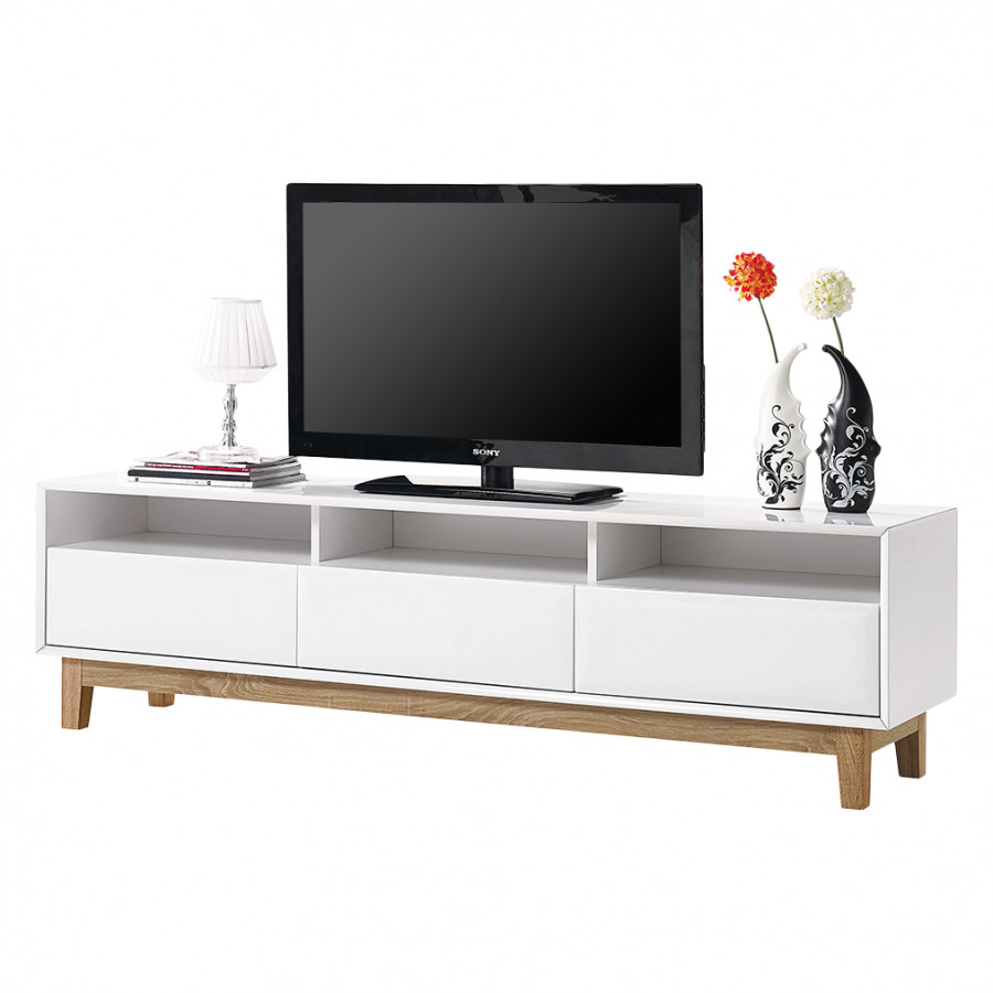 tv lowboard melia hochglanz wei eiche home24. Black Bedroom Furniture Sets. Home Design Ideas