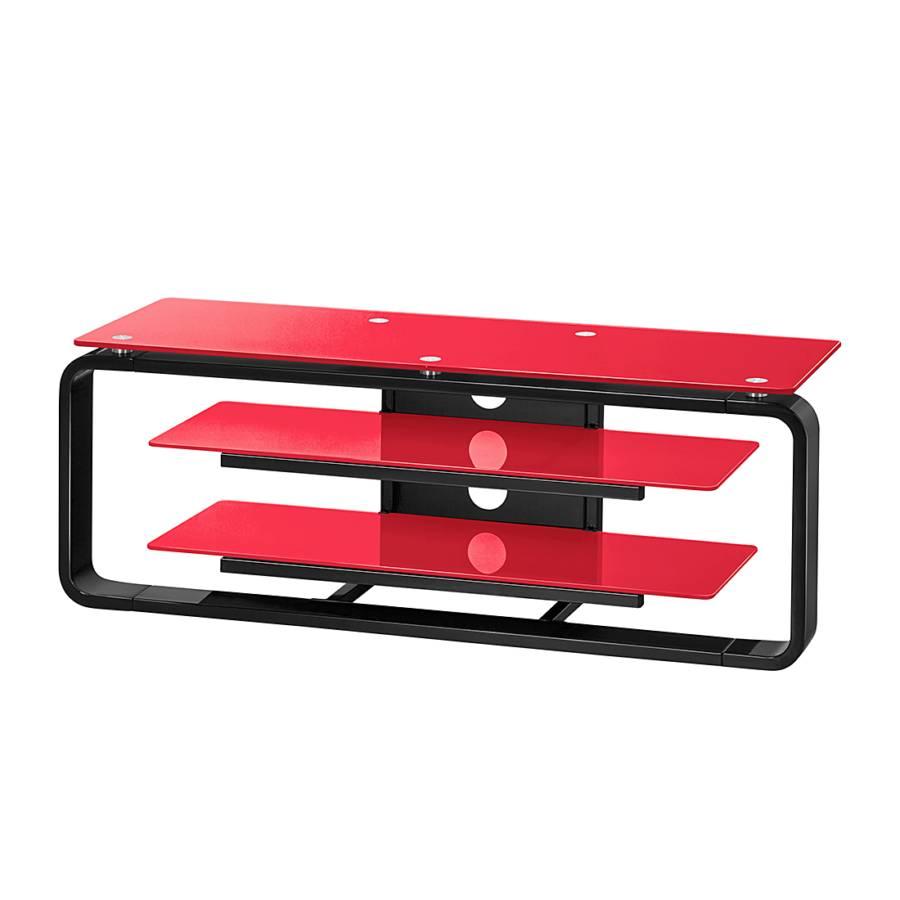 tv rack jared i hochglanz schwarz glas rot home24. Black Bedroom Furniture Sets. Home Design Ideas