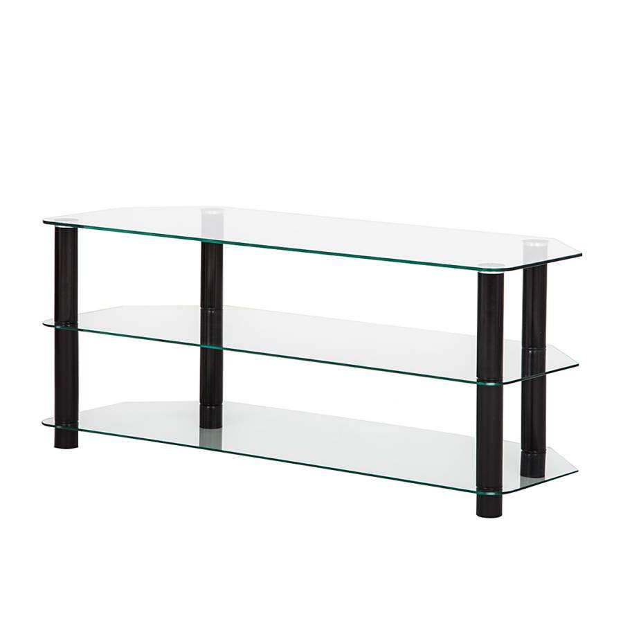 tv rack jim gro glas metall klar schwarz home24. Black Bedroom Furniture Sets. Home Design Ideas