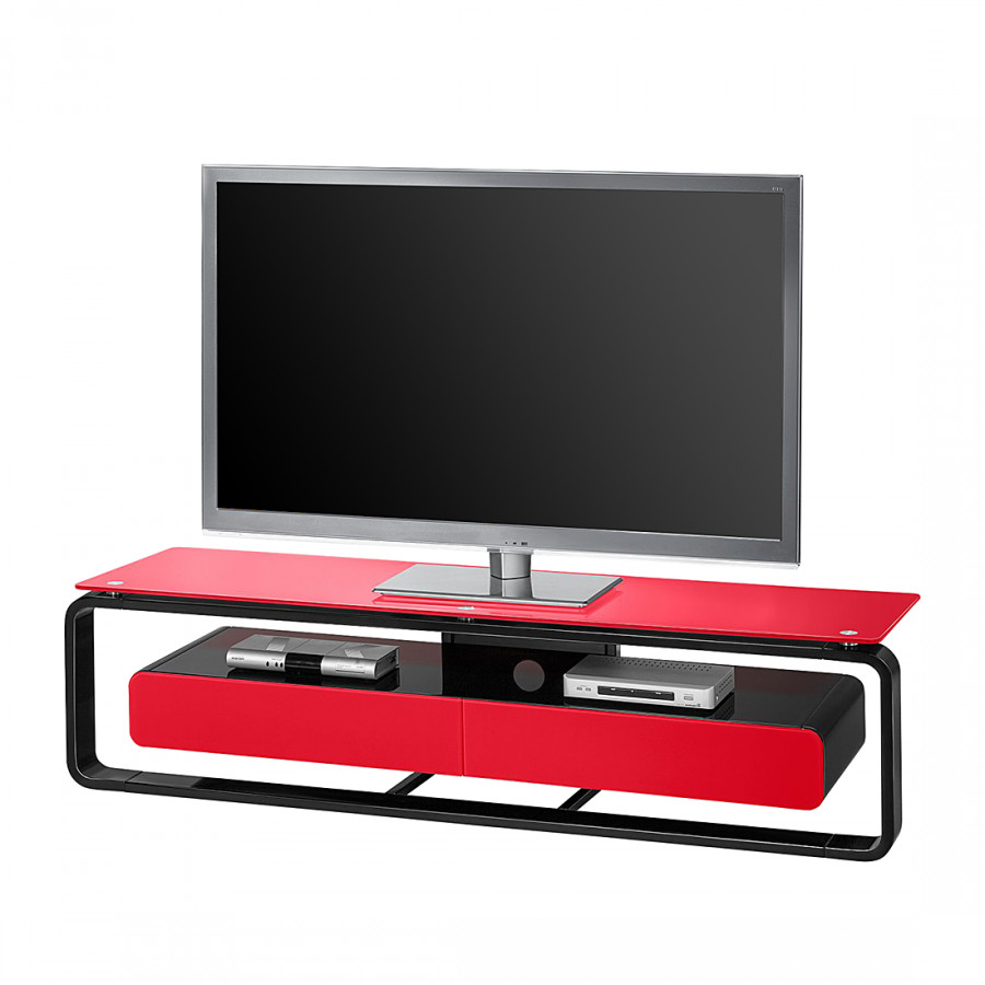 tv rack shanon ii hochglanz schwarz rot home24. Black Bedroom Furniture Sets. Home Design Ideas