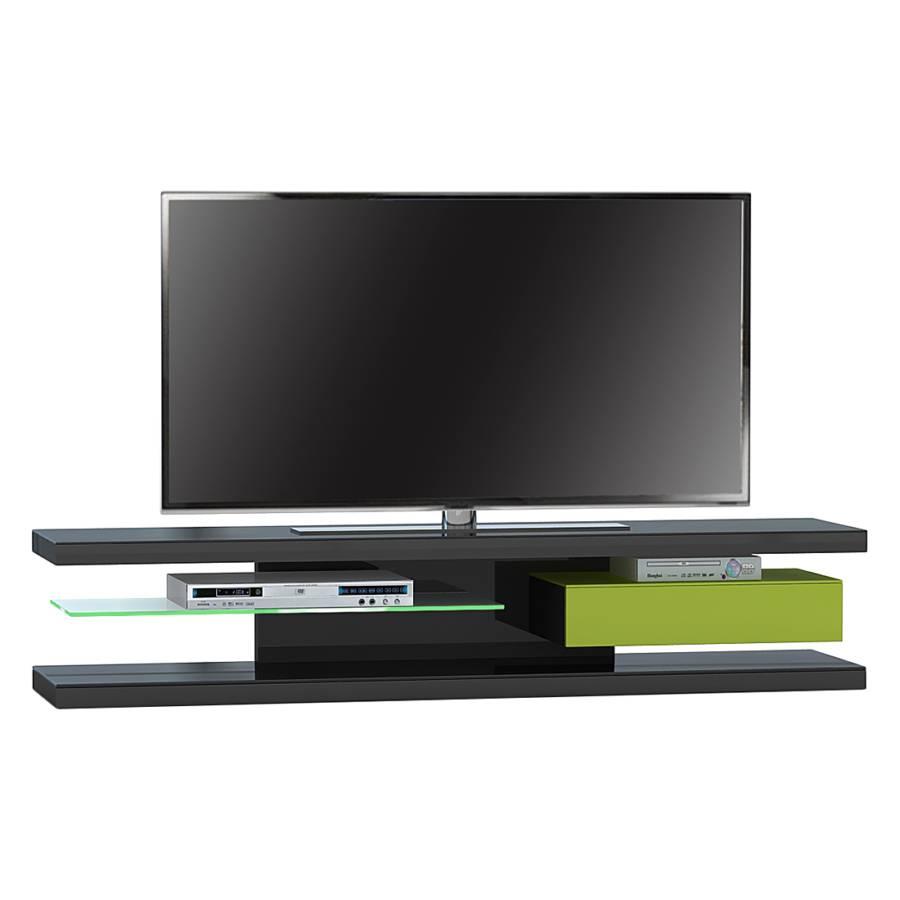 Meuble tv sl 690 clairage fourni noir mat vert for Meuble noir mat