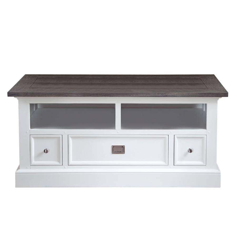 meuble tv skagen blanc marron fonc. Black Bedroom Furniture Sets. Home Design Ideas