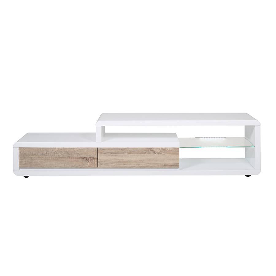 tv tisch sono hochglanz wei sonoma eiche dekor kaufen home24. Black Bedroom Furniture Sets. Home Design Ideas