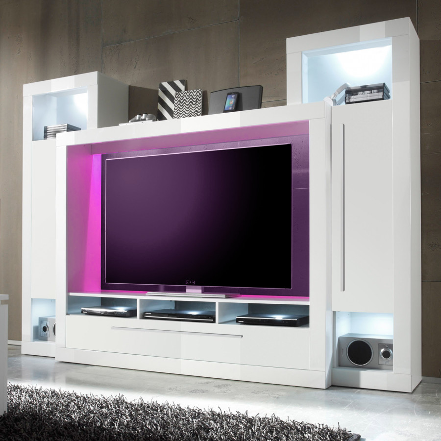 pin tv media wand breite 272 cm 4 tlg wei grau m bel. Black Bedroom Furniture Sets. Home Design Ideas