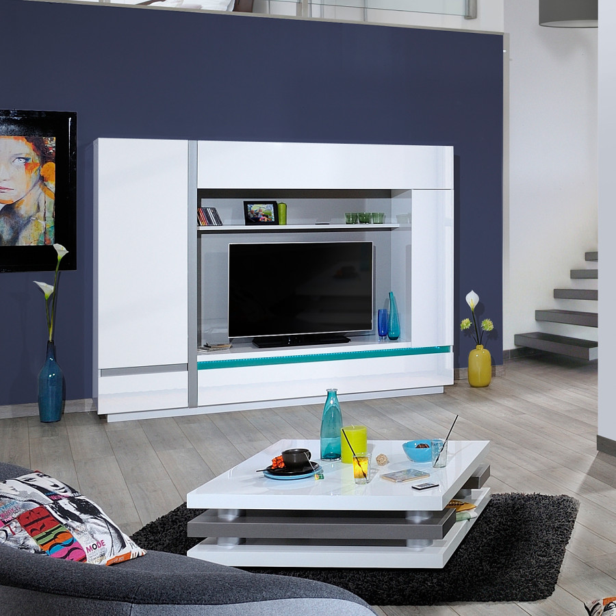 tv wand sacile inkl beleuchtung hochglanz wei. Black Bedroom Furniture Sets. Home Design Ideas