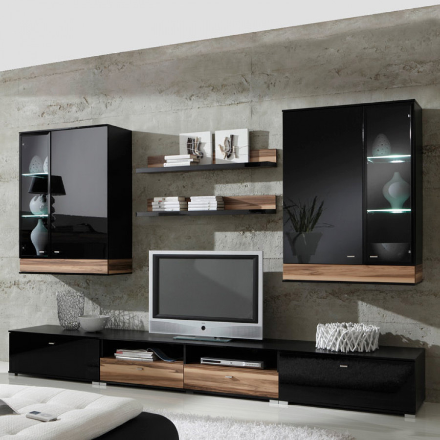 tyler wohnwand schwarz hochglanz nussbaum home24. Black Bedroom Furniture Sets. Home Design Ideas