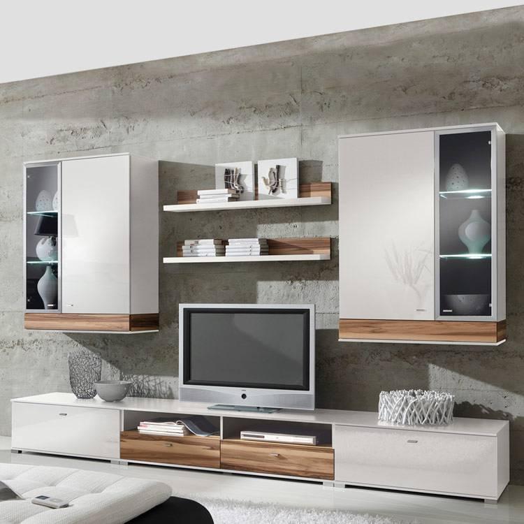 tyler wohnwand wei hochglanz nussbaum home24. Black Bedroom Furniture Sets. Home Design Ideas