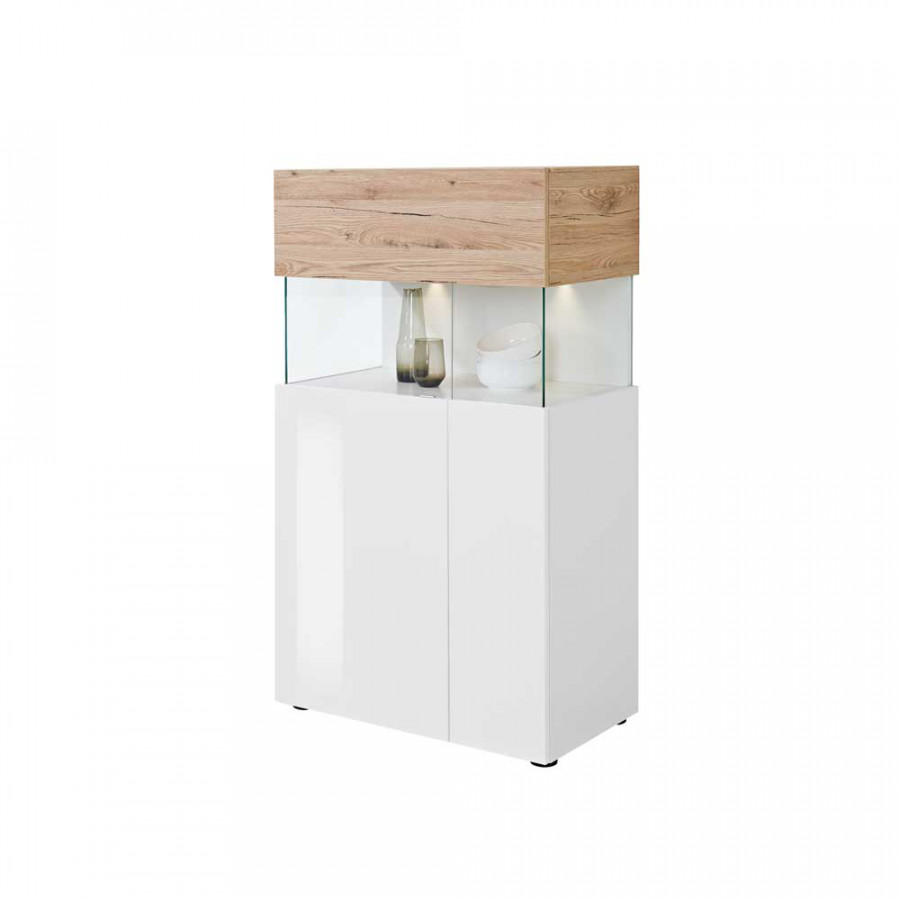 vitrine mezzyna wei hochglanz eiche sand home24. Black Bedroom Furniture Sets. Home Design Ideas