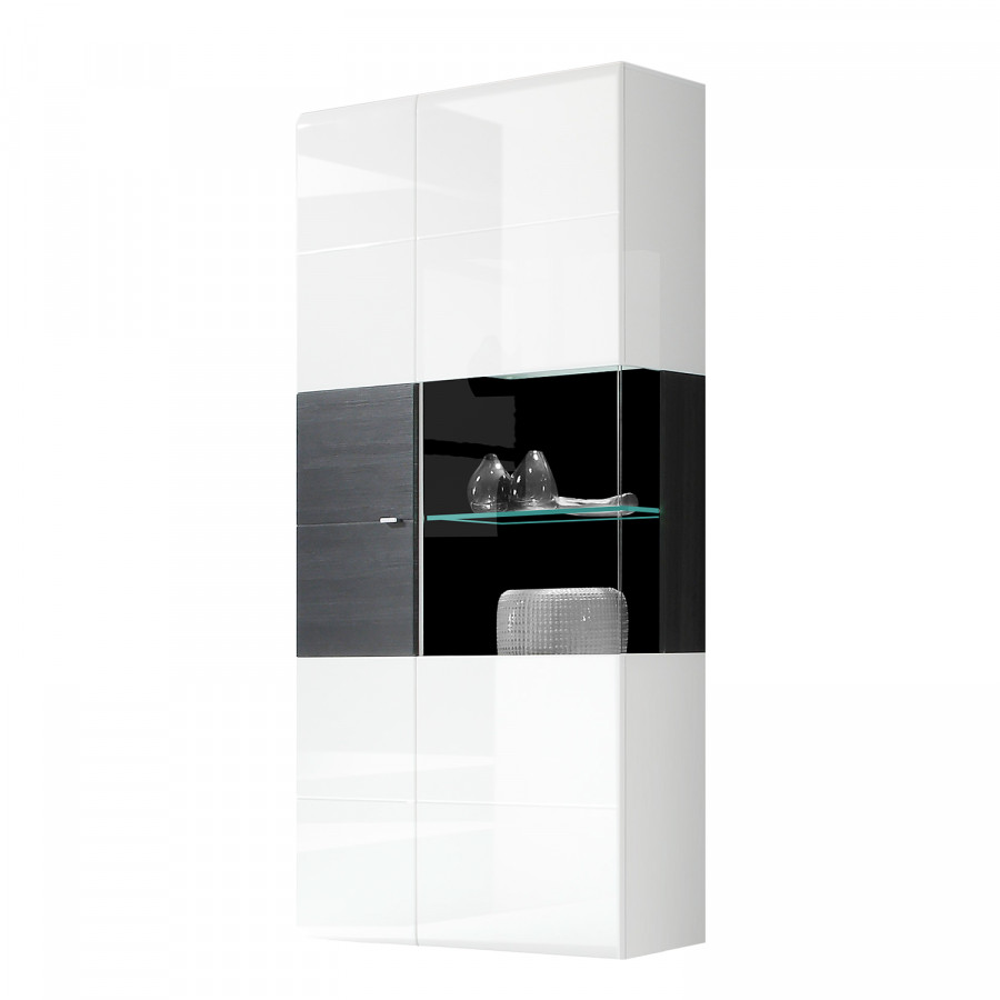 meuble vitrine matane blanc brillant noir. Black Bedroom Furniture Sets. Home Design Ideas