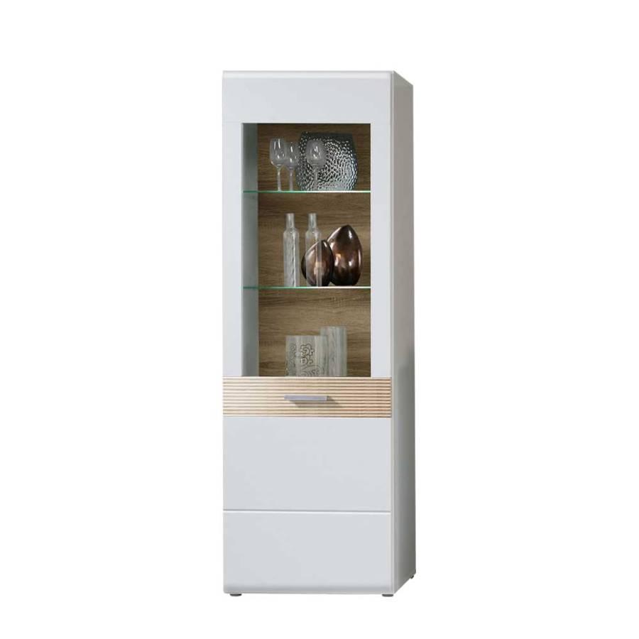 vitrinenschrank vurian wei eiche sonoma home24. Black Bedroom Furniture Sets. Home Design Ideas