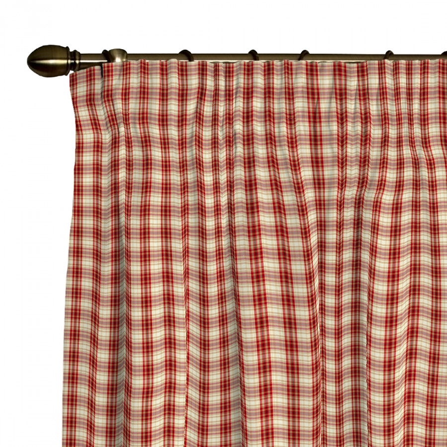 vorhang mit kr uselband beige rot kariert home24. Black Bedroom Furniture Sets. Home Design Ideas