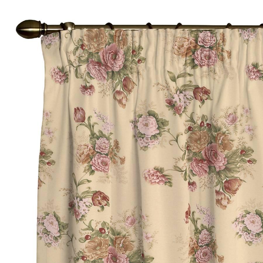 Vorhang mit kr uselband rosen beige home24 for Home24 gardinen