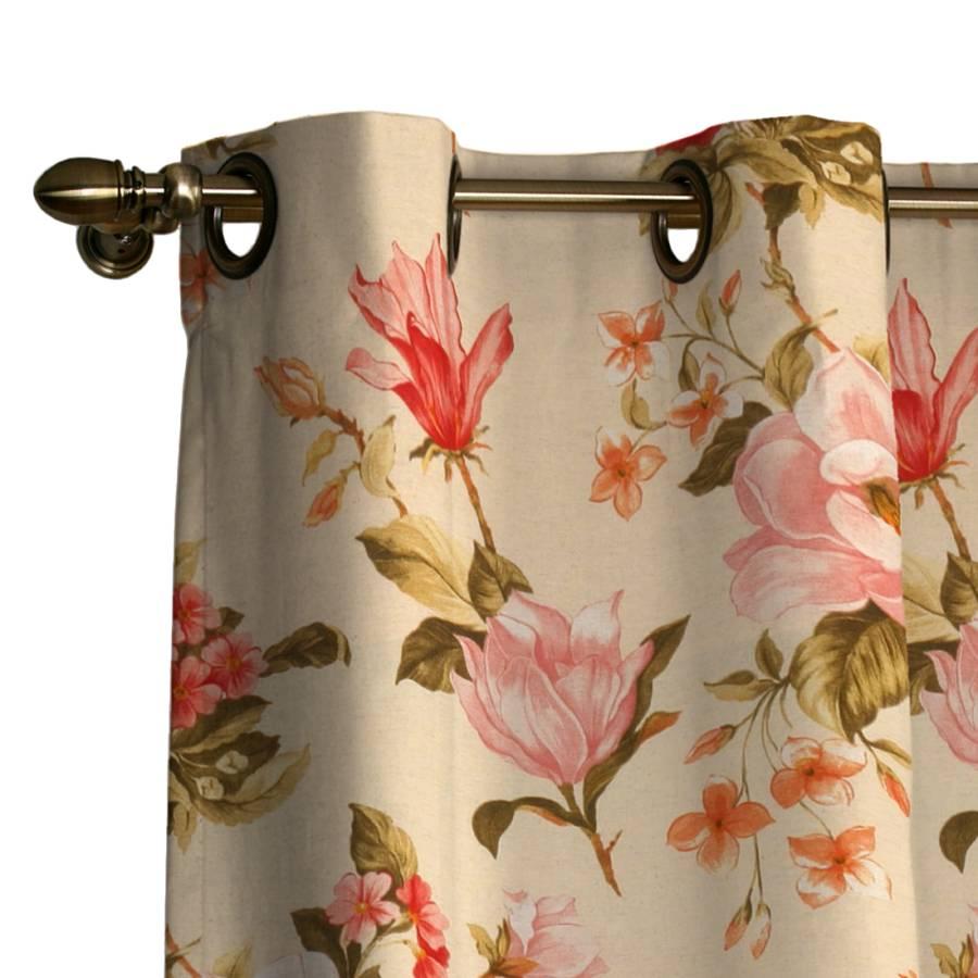 Vorhang mit sen blumen gro beige home24 for Home24 gardinen