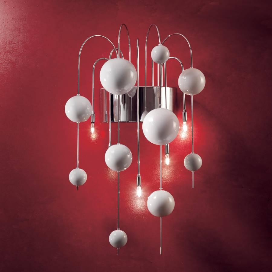 Applique murale bubbles acier verre argent 5 ampoules for Applique murale 5 ampoules