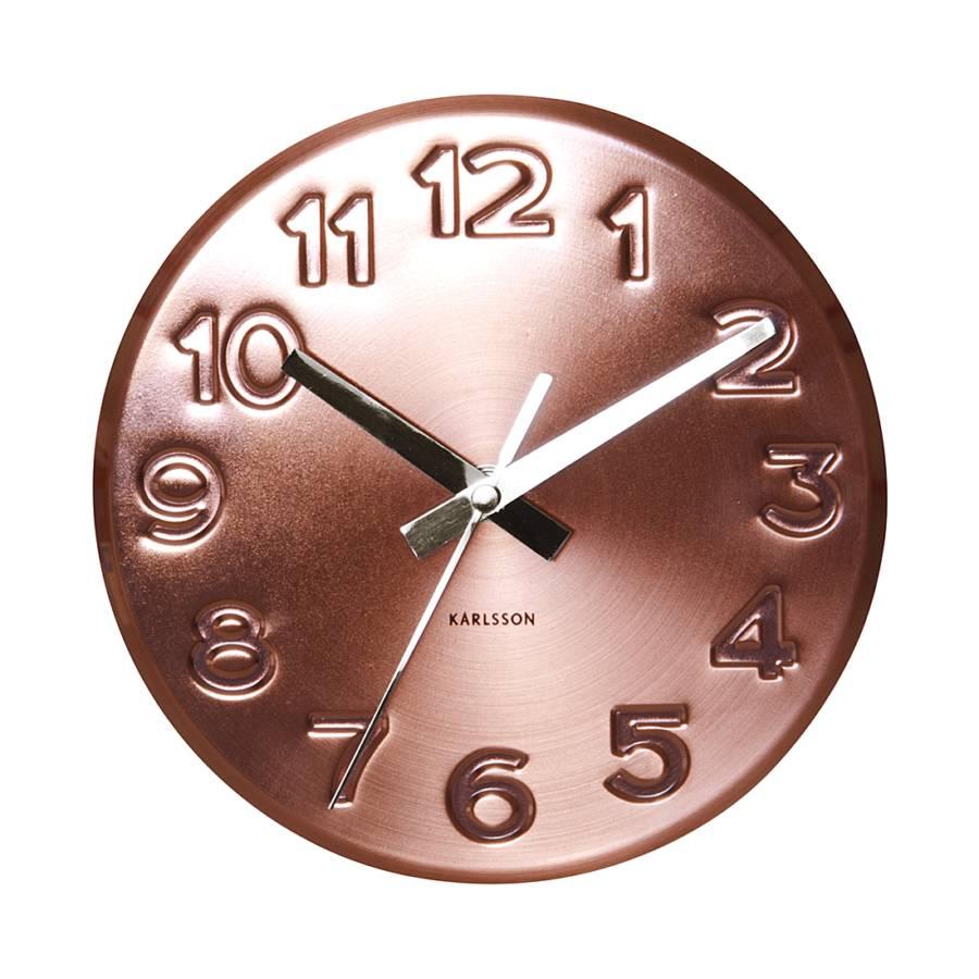 Horloge murale bold engraved numbers cuivre - Horloge murale cuivre ...