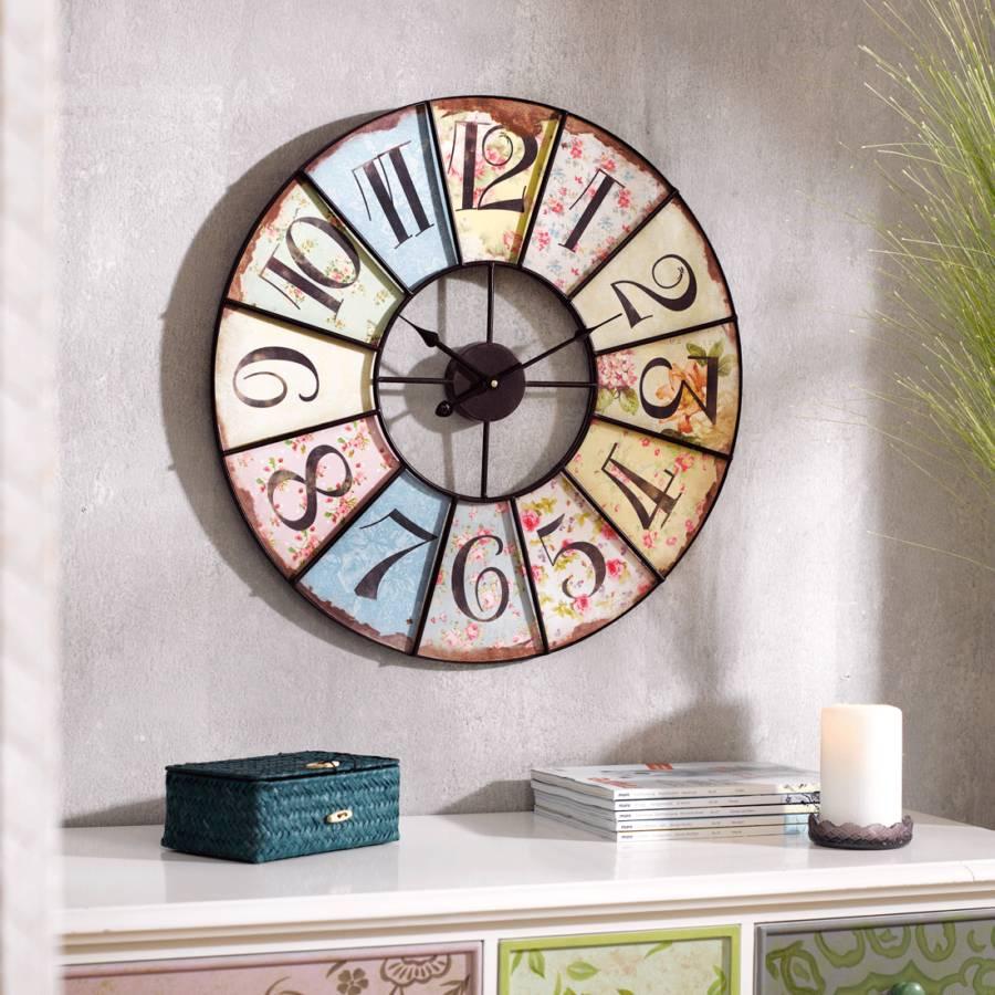 wanduhr millefleur 60 cm metall holz home24. Black Bedroom Furniture Sets. Home Design Ideas