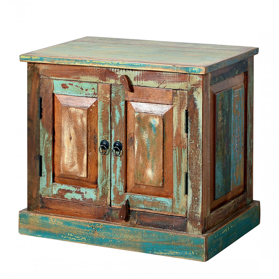 Meuble sous vasque calla bois recycl massif multicolore - Meuble vasque bois massif ...