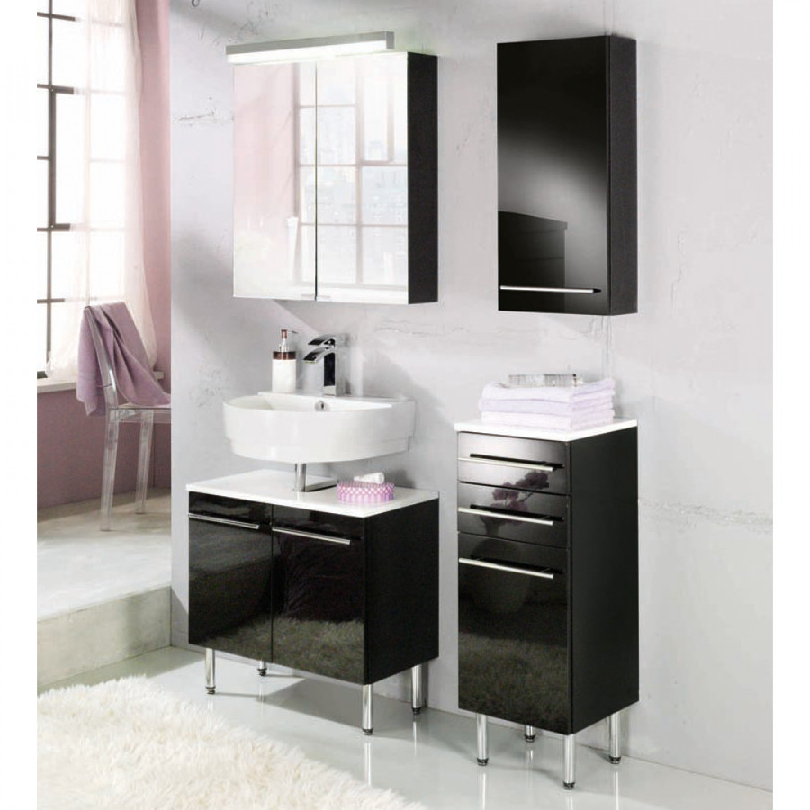 Meuble sous vasque bern noir for Meuble sous lavabo noir