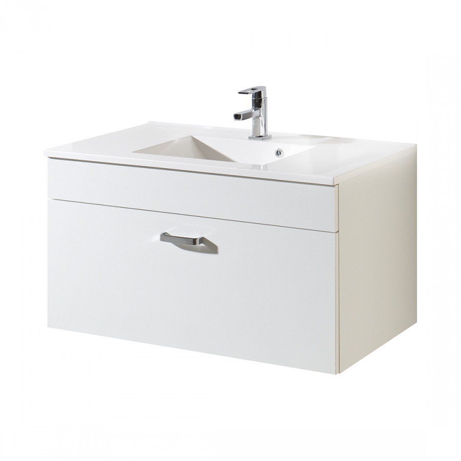 Meuble lavabo turda ii blanc for Meuble lavabo blanc