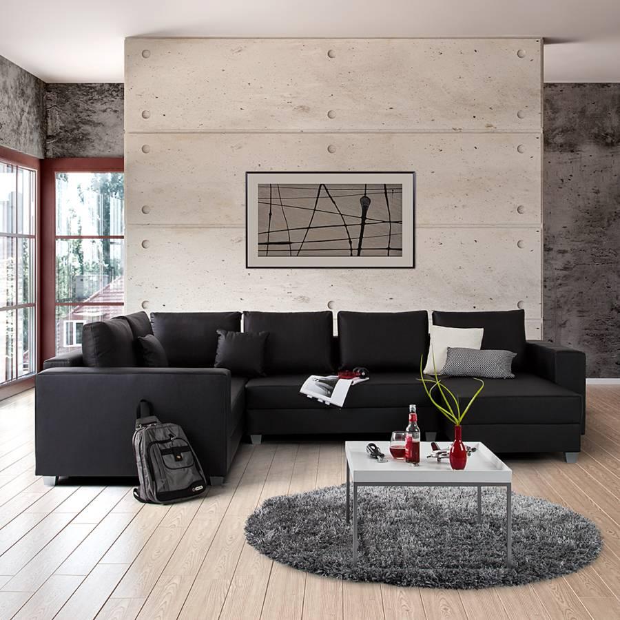 Roomscape sofa mit schlaffunktion f r ein modernes for Wohnlandschaft schwarz kunstleder