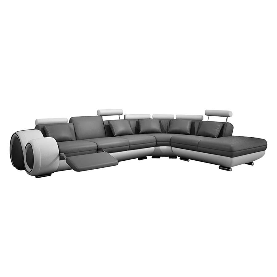 ecksofa berlinv echtleder l form grau wei. Black Bedroom Furniture Sets. Home Design Ideas