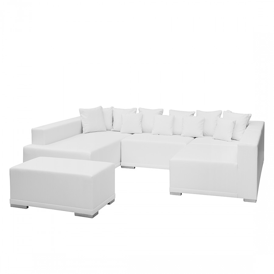 canap 233 modulable neo avec repose pieds cuir synth 233 tique blanc home24 be
