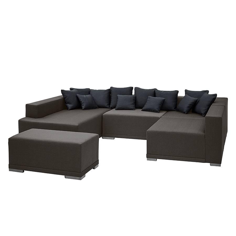 Canap modulable neo avec repose pieds tissu gris - Canape avec repose pied integre ...