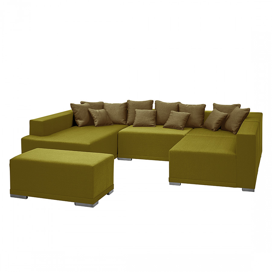 canap modulable neo avec repose pieds tissu vert clair m ridienne gauche. Black Bedroom Furniture Sets. Home Design Ideas