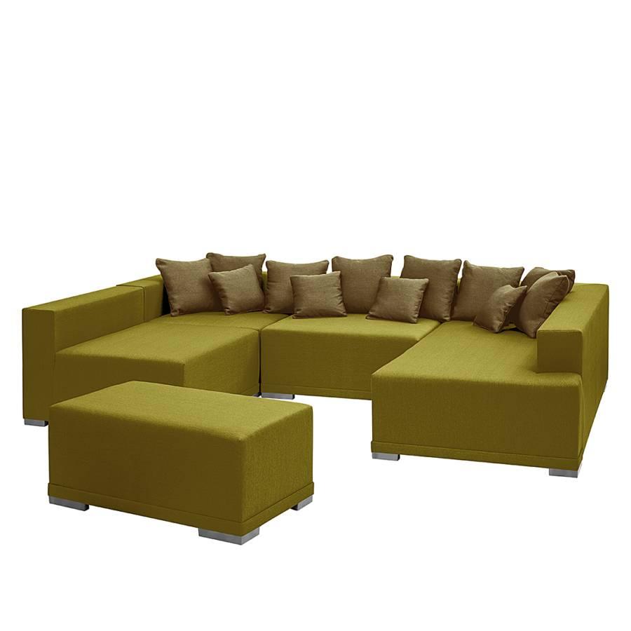 Canap modulable neo avec repose pieds tissu vert clair - Canape avec repose pied integre ...