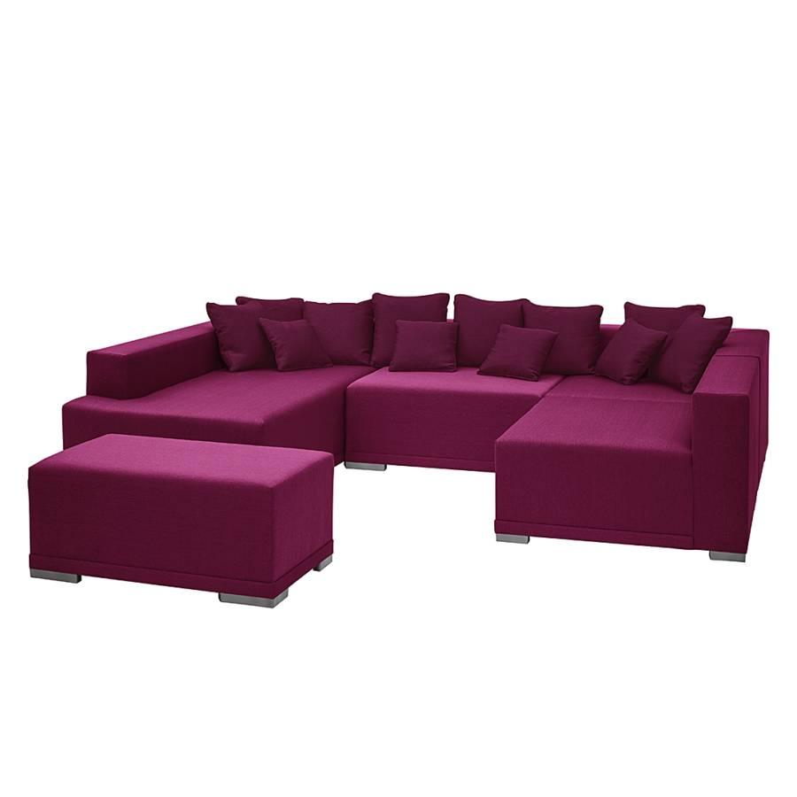 Canap modulable neo avec repose pieds tissu rose m ridienne gauche - Canape convertible avec repose pied ...