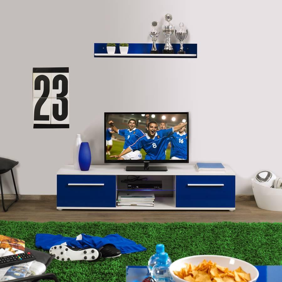wohnwand gelsenkirchen 2 teilig hochglanz blau wei. Black Bedroom Furniture Sets. Home Design Ideas