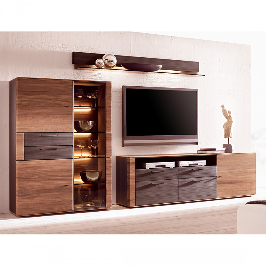 wohnwand cando 3 teilig walnuss massiv home24. Black Bedroom Furniture Sets. Home Design Ideas