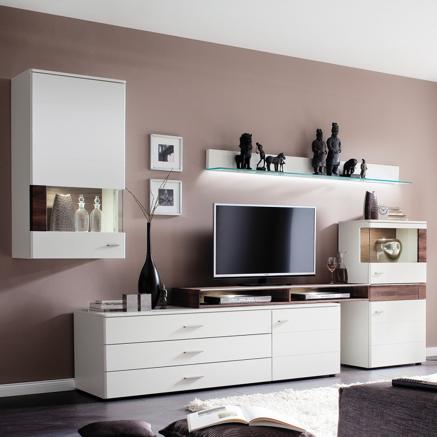 wohnwand capri 5 teilig nussbaum teilmassiv wei. Black Bedroom Furniture Sets. Home Design Ideas