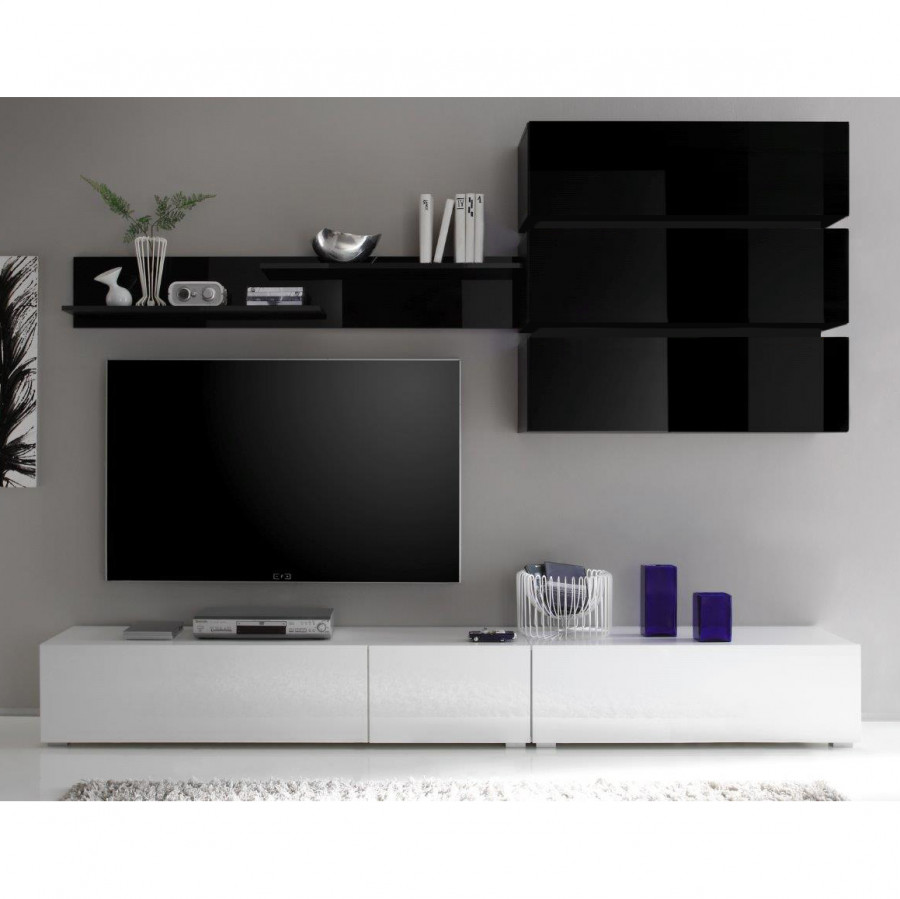wohnwand cisco 3 teilig hochglanz schwarz hochglanz wei home24. Black Bedroom Furniture Sets. Home Design Ideas